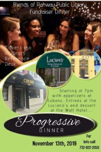 Progressive Dinner Hosted by Friends of the Rahway Public Library @ pin Cubanu Restaurant & Lounge